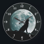 """Wolf Howling Wildlife Wall Clock<br><div class=""""desc"""">There is something magical about a Full Moon with the silhouette of a howling Wolf framed in it.</div>"""