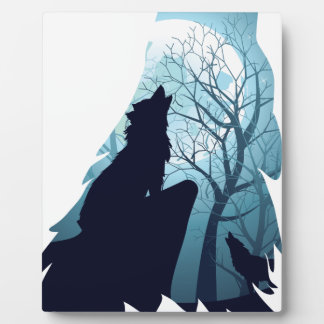 Wolf Howling with Forest2-01 Plaque