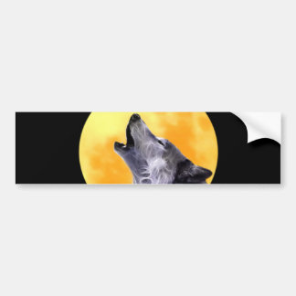 Wolf howls at the full moon bumper sticker