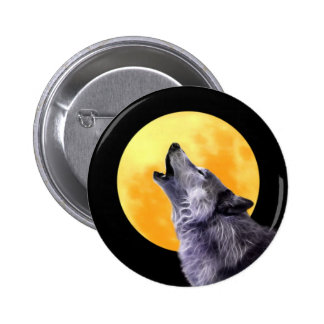 Wolf howls at the full moon pin