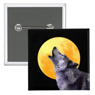 Wolf howls at the full moon buttons