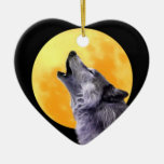 Wolf howls at the full moon christmas ornaments
