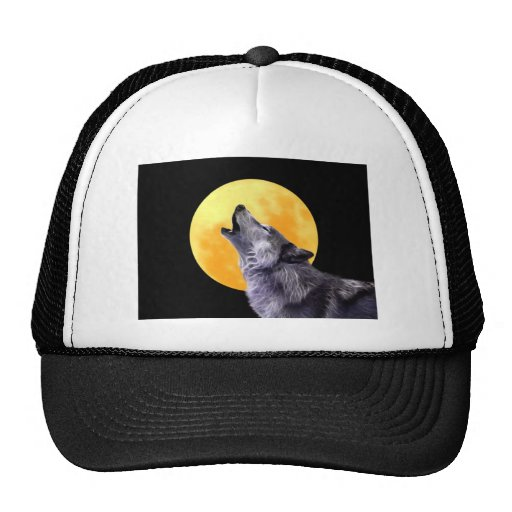 Wolf howls at the full moon trucker hat