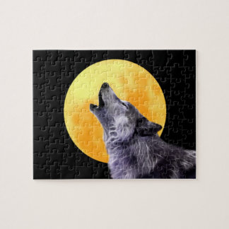 Wolf howls at the full moon jigsaw puzzle
