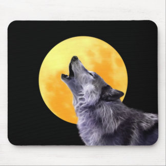 Wolf howls at the full moon mouse pad