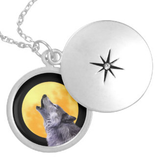Wolf howls at the full moon necklaces