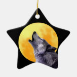 Wolf howls at the full moon ornaments