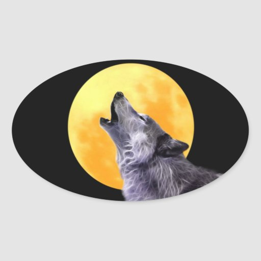 Wolf howls at the full moon oval stickers