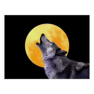 Wolf howls at the full moon poster