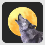 Wolf howls at the full moon square sticker