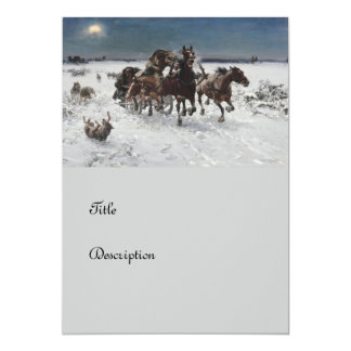 Wolf Hunt in the Snow 5x7 Paper Invitation Card