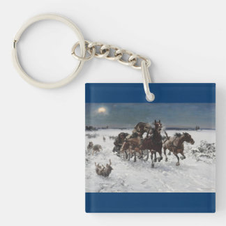 Wolf Hunt in the Snow Double-Sided Square Acrylic Keychain