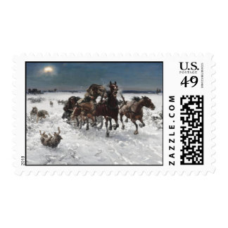 Wolf Hunt in the Snow Postage