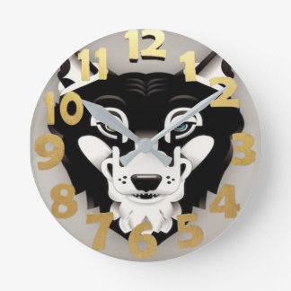 Wolf/Huskey With Green & Blue Eyes Wall Clock