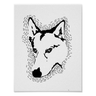 Wolf Hybrid Sihlouette Poster Print