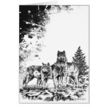 Wolf Illustration Blank Greeting Card Cards