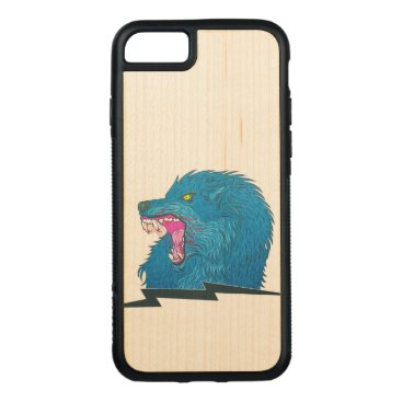 Halloween Themed Wolf Illustration Carved iPhone 7 Case