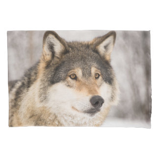 Wolf in a winter forest pillowcase