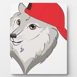 Wolf in Baseball Cap Plaque
