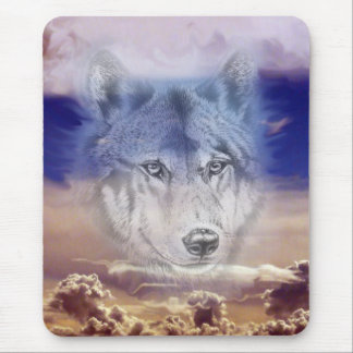 Wolf in dark clouds mouse pad