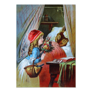 Wolf in Grandma Bed Card