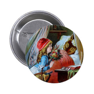 Wolf in Grandma Bed Pinback Button