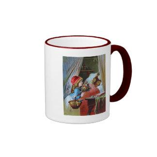 Wolf in Grandma Bed Ringer Mug