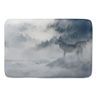 Wolf in misty Mountains in Black, Gray and white. Bathroom Mat