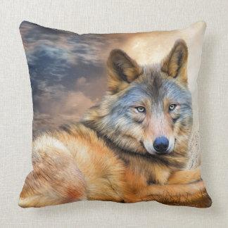 Wolf In Moonlight Art Decorator Pillow