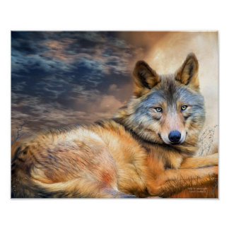 Wolf In Moonlight Fine Art Poster/Print Poster