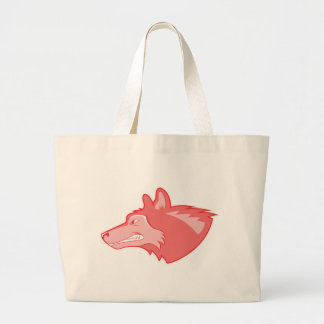 Wolf in periwinkle large tote bag