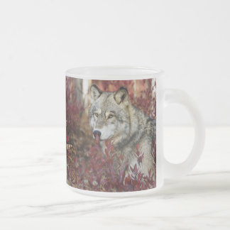 Wolf in red foliage frosted glass coffee mug