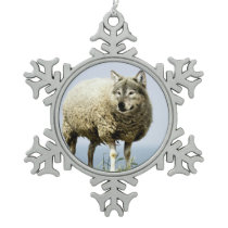 Wolf in Sheep Clothing Snowflake Pewter Christmas Ornament