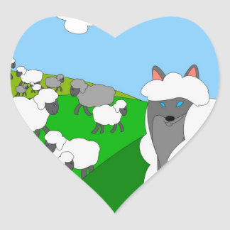 wolf in sheep's clothing heart sticker