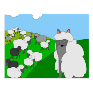 wolf in sheep's clothing postcard