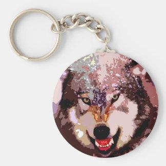 Wolf in Snow Basic Round Button Keychain