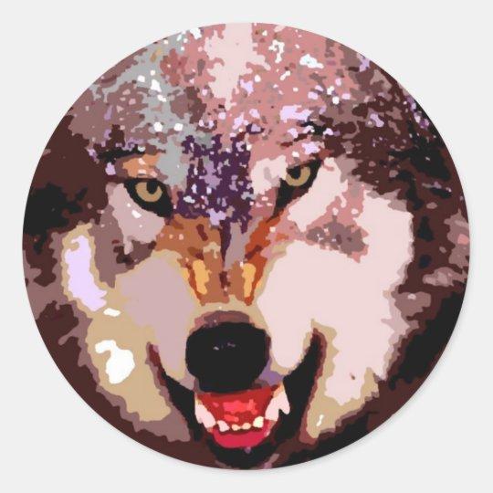 Wolf in Snow Classic Round Sticker