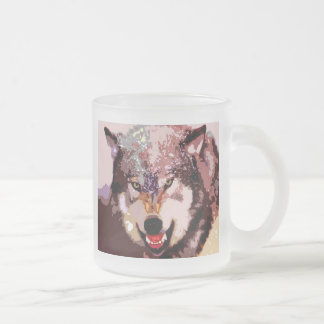 Wolf in Snow Frosted Glass Coffee Mug