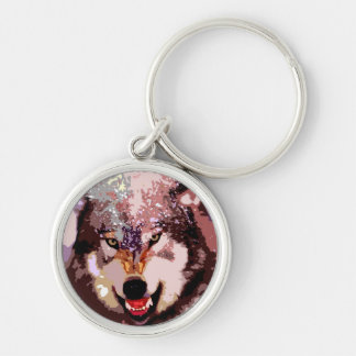 Wolf in Snow Key Chain