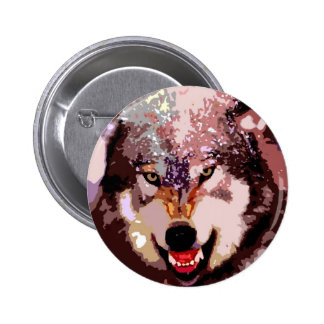 Wolf in Snow Pinback Button