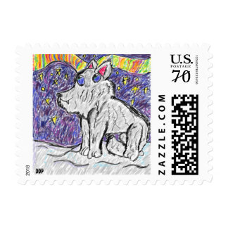 wolf in snow postage