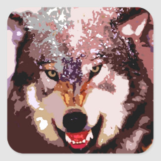 Wolf in Snow Square Sticker