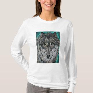 Wolf in Teal Ice womens hoodie