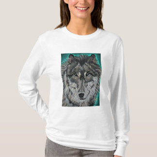 Wolf in Teal Ice womens long-sleeved tee