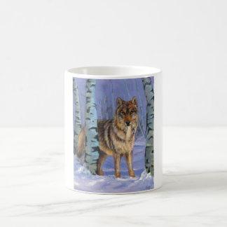 Wolf in the birches coffee mug