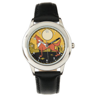 Wolf in the Desert Howling at the Moon Watch