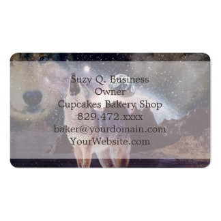 Wolf in the moon howling at the earth business card