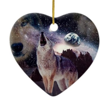 Halloween Themed Wolf in the moon howling at the earth ceramic ornament