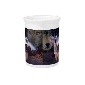 Wolf in the moon howling at the earth drink pitcher