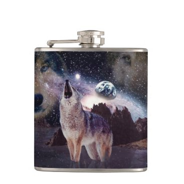 Halloween Themed Wolf in the moon howling at the earth hip flask